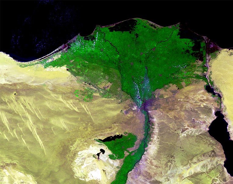 The Nile Delta in Egypt, acquired by Proba-V on 24 March 2014